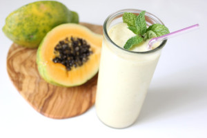 Treat Digestion Woes With This Papaya Ginger Mint Smoothie