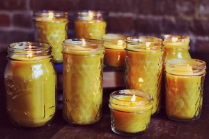 homemade beeswax candles